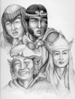 Pencil drawing of the 4 pilgrims